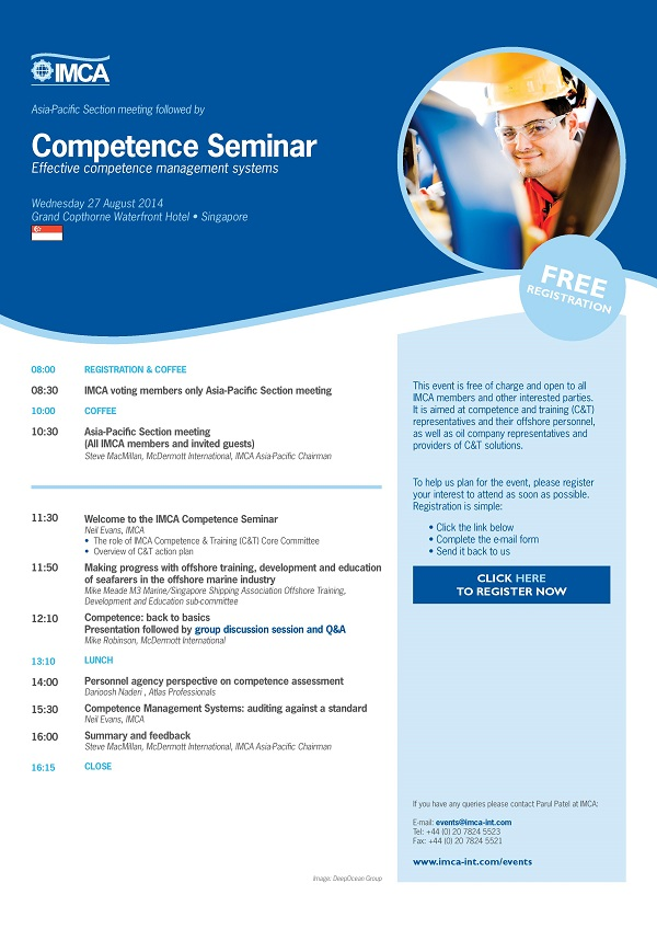 IMCA's Asia-Pacific Section Meeting & Competence Seminar in Singapore 27th Aug 2014